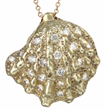 Gold Shell Necklace by Jessica Surloff. 14K Green Gold and White Diamonds