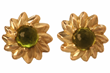 Flower Studs by Jessica Surloff. 18K Yellow Gold and 2ct. Peridots