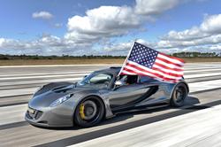 Hennessey Venom GT 270 mph American Flag nasa kennedy space center