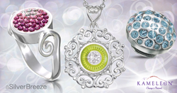 Image of three Kameleon JewelPop interchangeable jewelry including one ring and 2 JewelPops