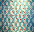 Turquoise + Tomato Red Wallpaper