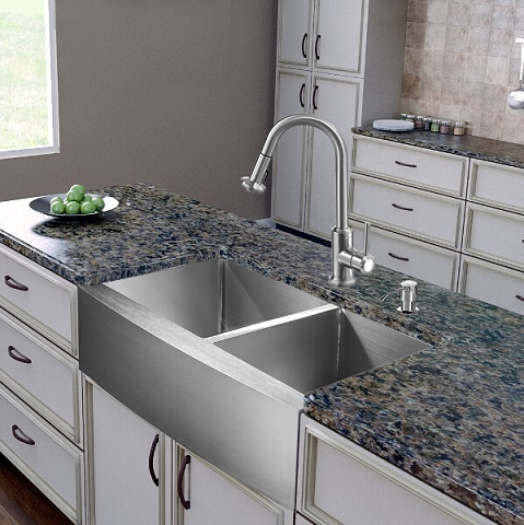Kitchen Faucets For Farm Sinks : ... inch Farmhouse Stainless Steel Double Bowl Kitchen Sink and Faucet Set