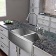 Vigo VG15270 All in One 36-inch Farmhouse Stainless Steel Double Bowl Kitchen Sink and Faucet Set