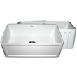 Whitehaus WHFLCON3018 Reversible series fireclay sink with Concave front apron one side and fluted front apron on other