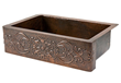Premier Copper Products KASDB33229S Copper Hammered Kitchen Apron Single Basin Sink with Scroll Design