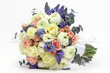 wedding bouquet with white ranunculus, roses and muscari