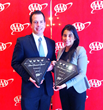 Joshua Barbee (left) and Leticia Penazola of The Bernards Inn Accept the AAA Four Diamond Award Plaques.