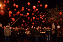 613 light balloons being released over the Bosphorus in Istanbul