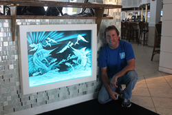 Peter Edward Jurgens created this LED illuminated art glass for JB's on the Beach