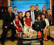 The Jonas family of Goat Milk Stuff was interviewed on Chicago's top-rated WGN-TV Midday News, co-Anchor Steve Sanders, center, with PJ and Jim Jonas and their 8 children, ages 6 to 17.