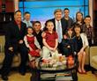 CBS in Chicago the Jonas family of Goat Milk Stuff on the WGN Midday News as Anchor Steve Sanders, center, interviewed PJ, Jim and the 8 Jonas children.