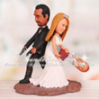 Zombie Cake Topper Groom Holding Pistols Bride Wielding Chainsaw