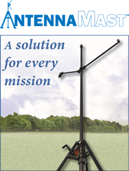 The new AntennaMast AM2 by Will-Burt is a man-portable aluminum tripod mast designed for ease of use and payload elevation flexibility.  Heights up to 49 ft. / 15m are possible.  Up to 4 antennas and / or sensors can be deployed on one mast.