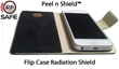 iPhone 5 Inside RF Safe's Flip Case with Peel n Shield™ Flip Cover Shield