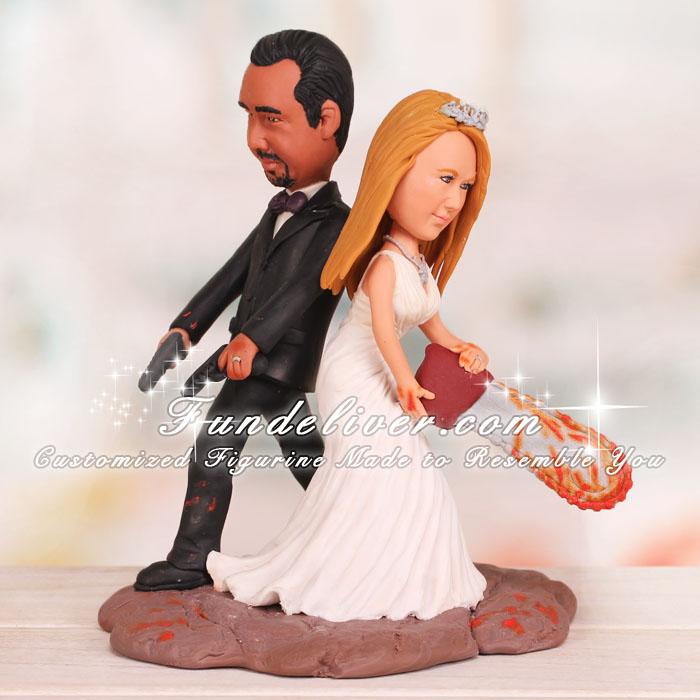 Funny Chainsaw Wedding Cake Toppers