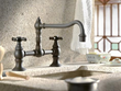 cifial 267.235.v05 double handle bridge kitchen faucet with metal cross handles from the highlands series