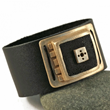 Leather, Bronze & Concrete Men's Cuff by Kathryn Designs Jewelry