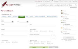 Rocket Matter's Advanced Search for Legal Case Information