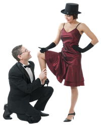 Top Hat on girl in couple at Prestige Ballroom in St. Louis having romantic date Ballroom Dancing Lessons