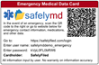 This emergency medical data card provides key medical information during an emergency.  It is accessible from anywhere in the world with an Internet connection
