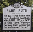 Babe Ruth Historical Marker