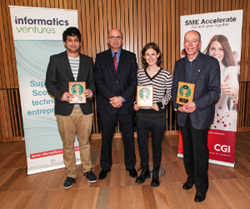John Powell CEO of Alfresco, Riaz Moola the Best Student Award winner and Magdalen Berns from the GNOME project with Keith Bergelt of the Open Invention Network