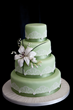 Coloured Wedding Cake with Edible Lace