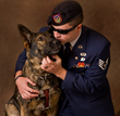 "Fidelco client SSgt Michael Malarsie, USAF (Ret) with his Fidelco Guide Dog ""Xxon"""