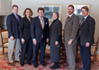 From left, BVU associate professors of political science Dr. Bradley Best, Lisa Best; BVU President Fred Moore; from Iowa Law, Dean Gail Agrawal, Dr. Brian Farrell, director of citizen lawyer program; Dr. David Evans, BVU vice president, academic affairs