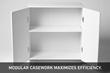 Image of Shield Casework cabinet with doors open.