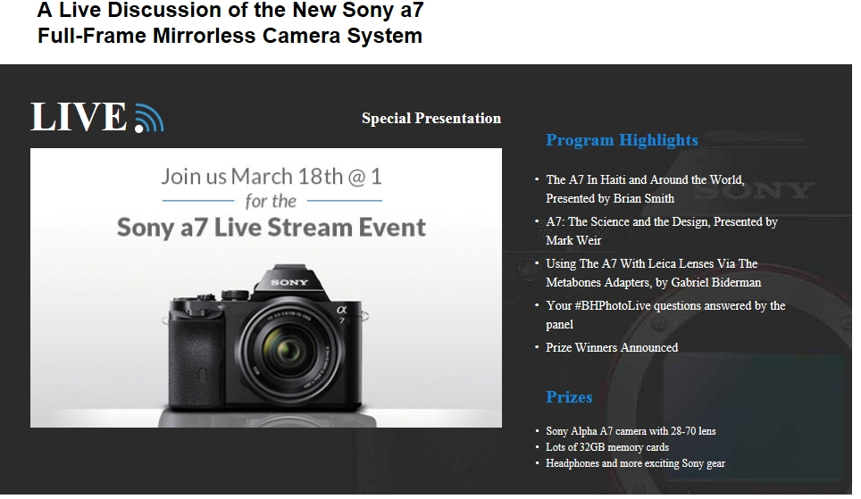 A Live Webcast of the New Sony a7 Full-Frame Mirrorless Camera ...