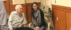 Veteran Leo Jarboe and student Melanie Fernandes