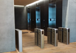Fastlane optical turnstiles in high-rise lobby for entry security