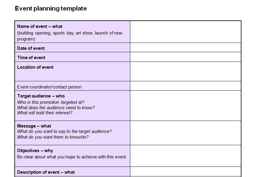 Event planning checklist template now featured on website for Template for planning an event