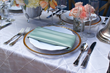 Place setting of party rentals for reception