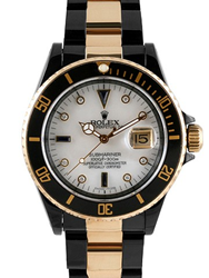 Certified Timepieces Mens Rolex Two Tone Gold and DLC PVD Mother of Pearl Dial Submariner