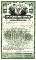 Imperial Russian Government Dollar-Denominated $1000 Gold Bond - 1916