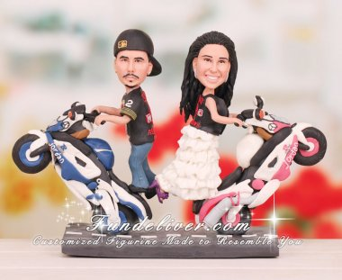 Couple do standing wheelies motorcycle cake toppers four wheelers dirt