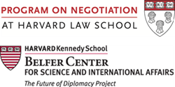 Program on Negotiation at Harvard Law School and The Future of Diplomacy Project at Harvard Kennedy School logos