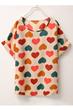 Chiffon T-shirt, Short Sleeve T-shirt, Hearts Printing T-shirt
