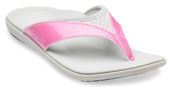 Breaking Away: The Yumi sandal in Sandi Pink is part of Spenco's new spring line of shoes that break the mold for orthotic footwear.