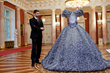 Nikos Floros with VIOLETTA sculptural costume inspired by Maria Callas and made from aluminum