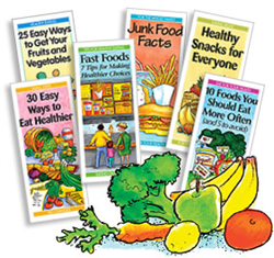 """Junk Food Facts""; ""30 Ways to Eat Healthier""; ""10 Foods You Should Eat More Often (and 5 to avoid)""; ""25 Easy Ways to Get Your Fruits and Vegetables""; ""Fast Foods: 7 Tips for Making Healthier Choices"" and ""Healthy Snacks for Everyone."""