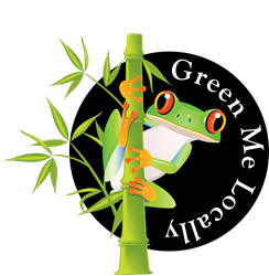 Green Me Locally with a red eyed tree frog mascot