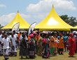 The bright yellow tent of the Scientology Volunteer Ministers African Goodwill Tour at the annual Mampuru Day celebration January 25, 2014, honoring the memory and heritage of King Mampuru II