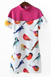 Bird Print Dress, Short Sleeve Dress