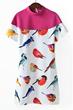 Bird Print Dress, Short Sleeve Dress