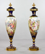 Pair of 19th century Sevres urns with covers