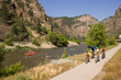 The bike trail in Glenwood Canyon provides access to many activities including cycling, rafting and hiking