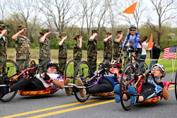 Saluting injured veterans as they arrive in historic Gettysburg.
